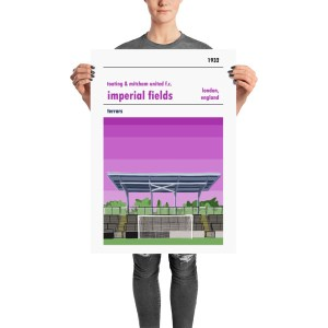 A retro football poster of Tooting & Mitcham FC and Imperial Fields