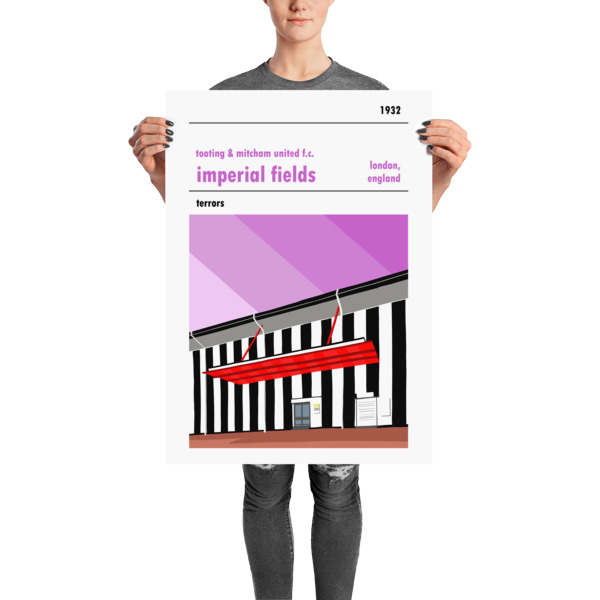 Large football poster of Tooting and Mitcham United FC and Imperial Fields