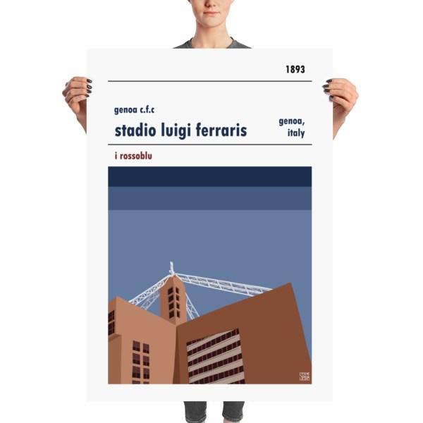 A huge stadium poster of Genoa CFC and Stadio Luigi Ferraris
