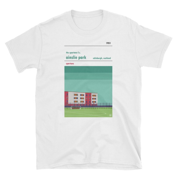 A white t shirt of Ainslie Park and the Spartans FC