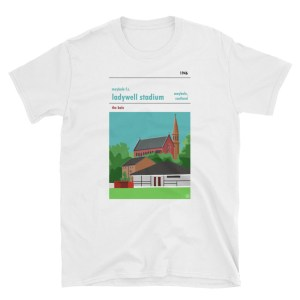 A white t shirt of Maybole FC and Ladywell Stadium