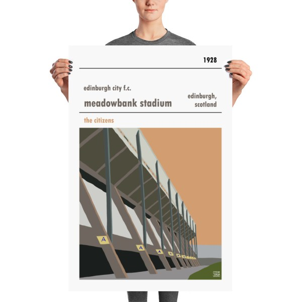 A large vintage poster of Meadowbank and Edinburgh City FC