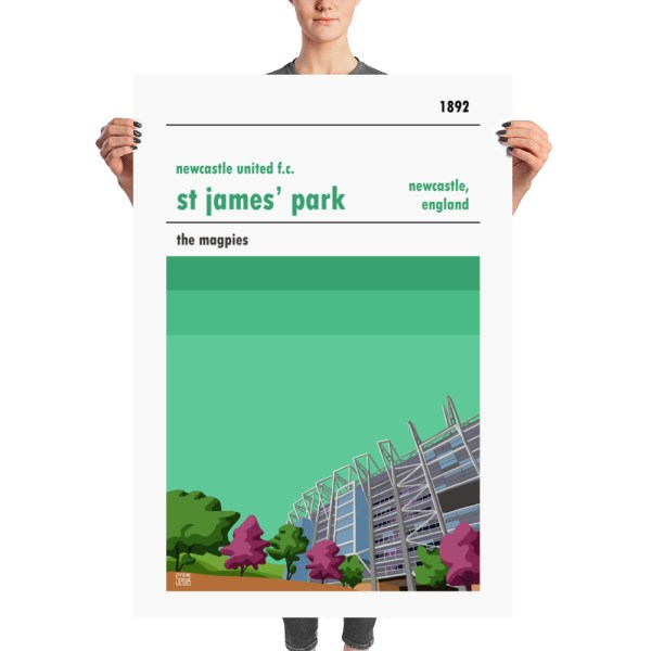 A huge retro poster of Newcastle United and St James' Park