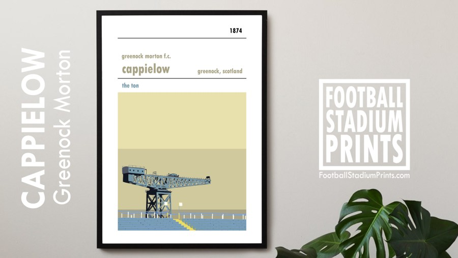 A framed poster of Cappielow, home to Greenock Morton FC. The Ton