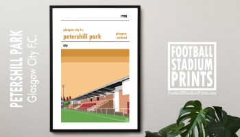 A poster of Petershill Park, home of SWPL champions Glasgow City