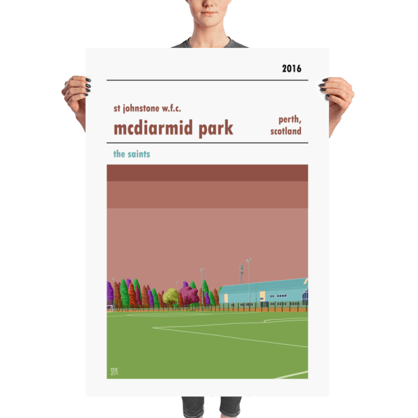 A huge football poster of McDiarmid PArk, home to St Johnstone WFC