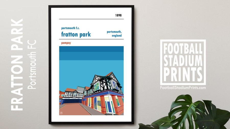 A framed stadium print of Fratton Park, home ground of Portsmouth FC