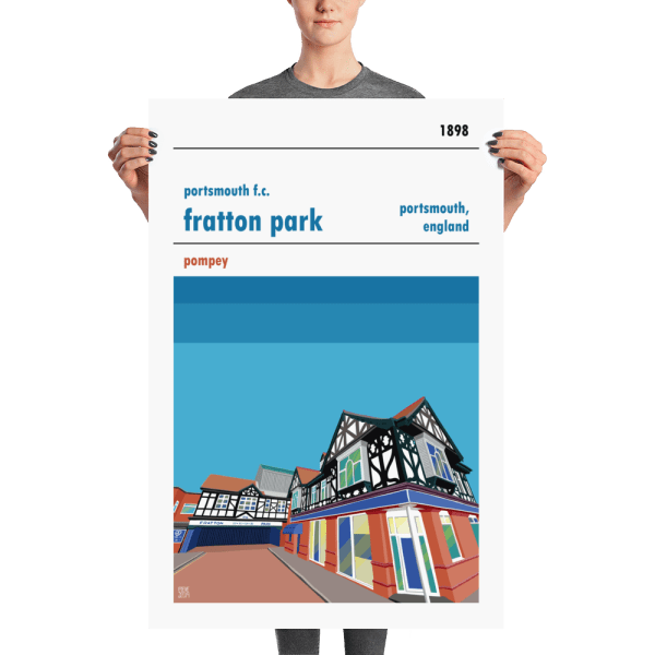 A large football poster of Portsmouth and Fratton Park. Pompey