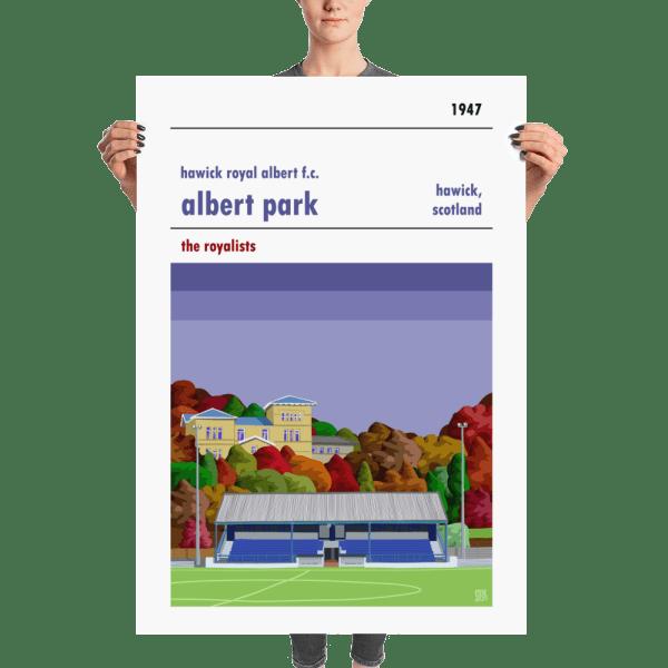 A huge Albert Park, home to Hawick Royal Albert, football poster