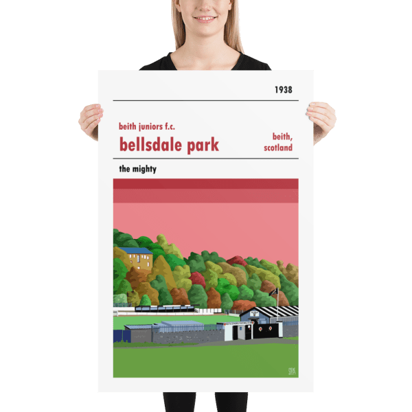 A large football poster of Bellsdale Park and Beith Juniors