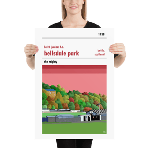 A medium football poster of Bellsdale PArk and Beith Juniors