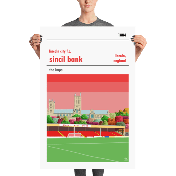 A large football poster of Sincil Bank, home to Lincoln City FC. The Imps