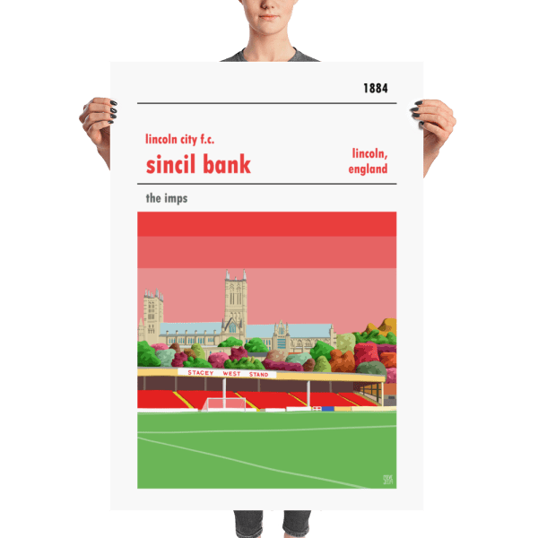 A huge poster of Sincil Bank, home of Lincoln City FC.
