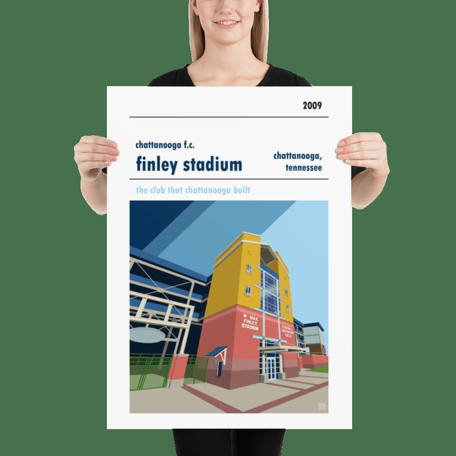 Stadium wall art of Chattanooga FC and Finley Stadium.