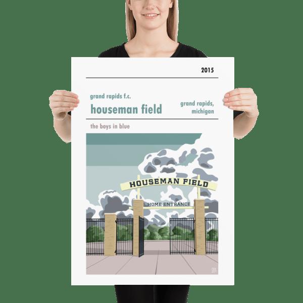 A retro Grand Rapids fc stadium poster of houseman fields