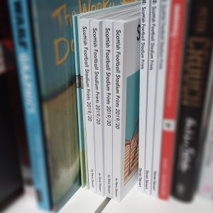Scottish Football Stadium Prints book spines