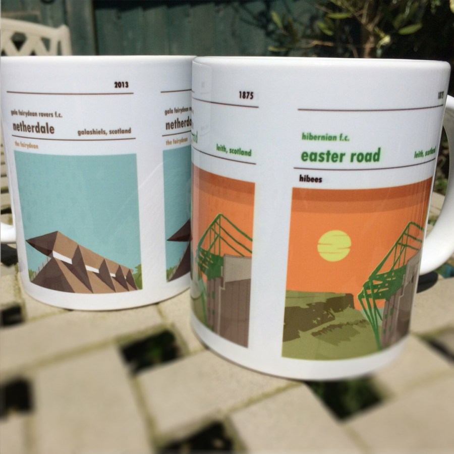 Two coffee mugs of Easter Road, home to Hibernian, and Netherdale, Home to Gala Fairydean. Football Mug