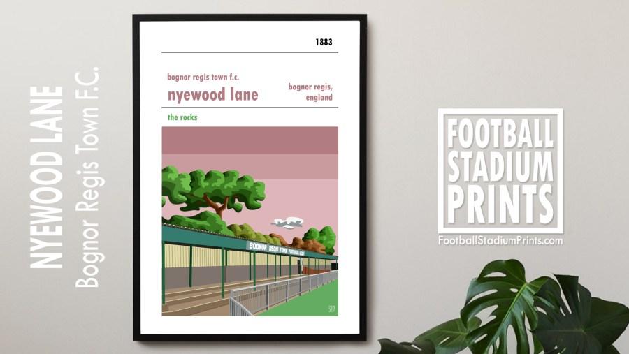 Framed Stadium Poster of Bognor Regis town FC and Nyewood Lane