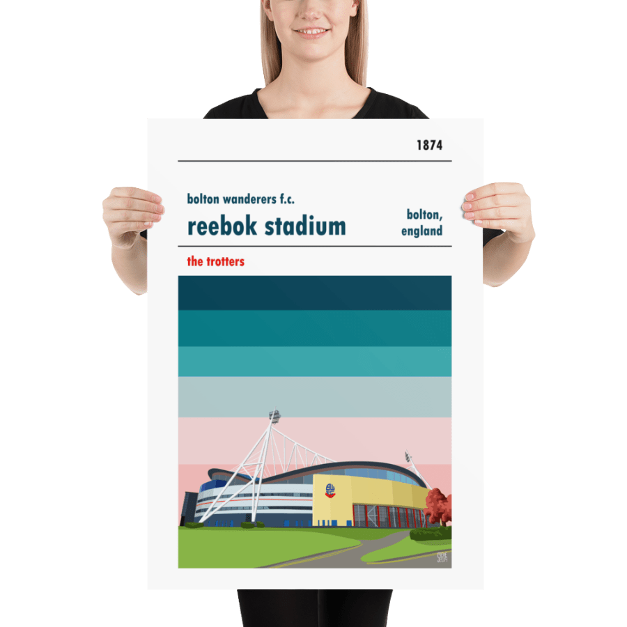 A football poster of Bolton Wanderers and the Reebok Stadium