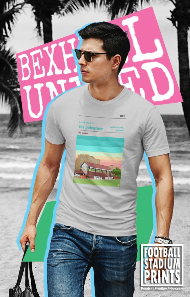 Cool guy on the beach in a Bexhill United FC t-shirt