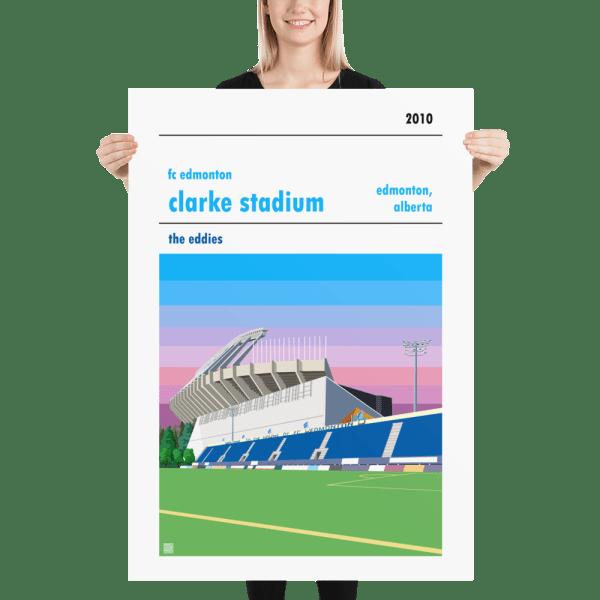 Massive football poster of FC Edmonton and Clarke Stadium