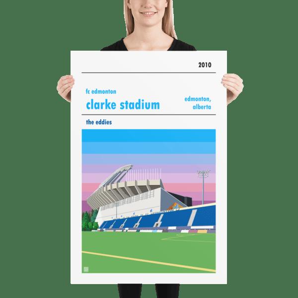Huge football poster of FC Edmonton and Clarke Stadium