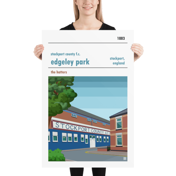 Huge football poster of Stockport County FC and Edgeley Park
