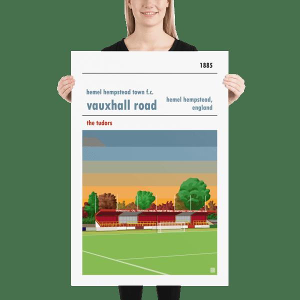 Huge football poster of Hemel Hempstead FC and Vauxhall Road