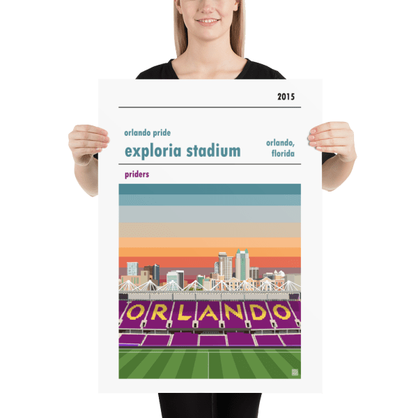 Large football poster of Orlando Pride and Exploria Stadium