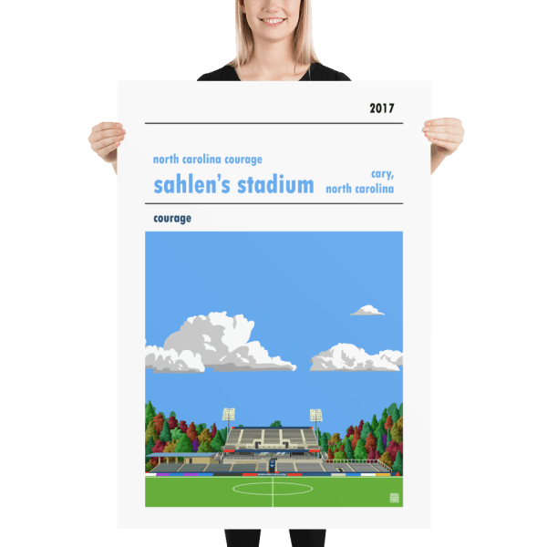 Massive football poster of North Carolina Courage and Sahlen's Stadium with blue sky