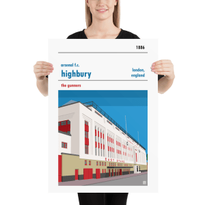 Large football poster of Arsenal and Highbury East Stand