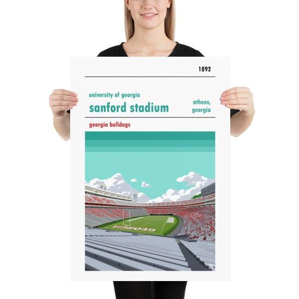 Large Georgia Bulldogs and Sanford Stadium football poster