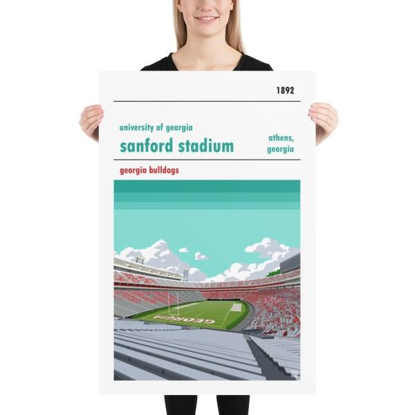 Huge Georgia Bulldogs and Sanford Stadium football poster