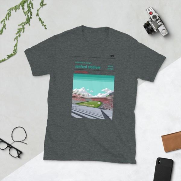 Dark gray Georgia Bulldogs and Sanford Stadium t-shirt