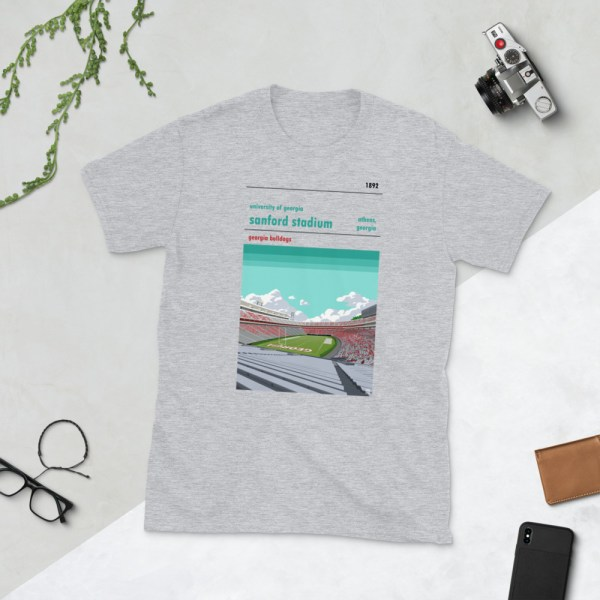 Grey Georgia Bulldogs and Sanford Stadium t-shirt