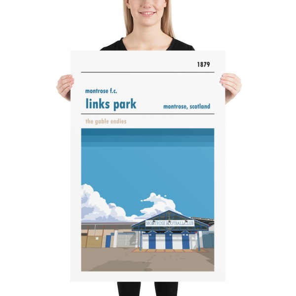 Huge football poster of Links Park and Montrose FC