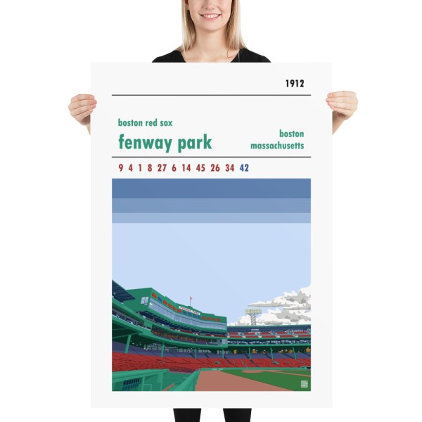 Massive baseball poster of Fenway Park and Boston Red Sox
