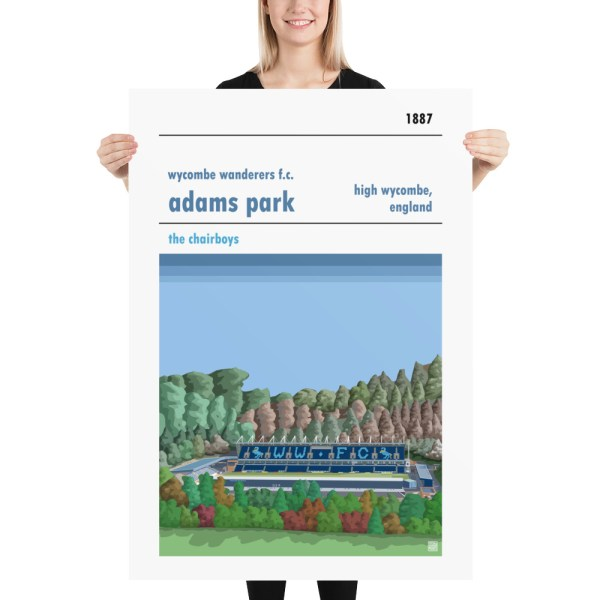 Massive football poster of Wycombe Wanderers and Adams Park