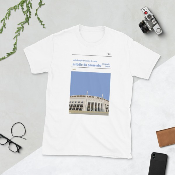 White Estadio do Pacaembu and Brazilian Rugby t-shirt