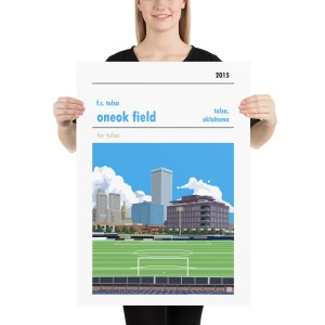 Matte ONEOK Field and FC Tulsa football poster