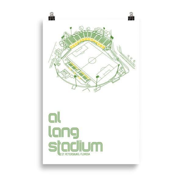 huge white Al Lang Stadium and Tampa Bay Rowdies Soccer Poster