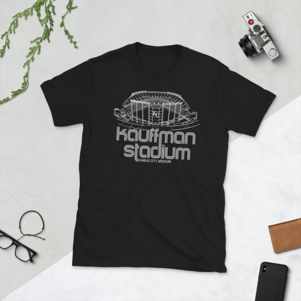 Black Kauffman Stadium and Kansas City Royals T-Shirt