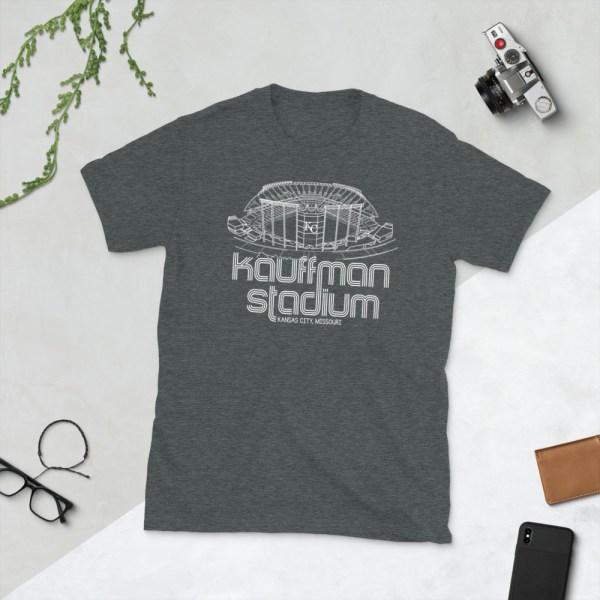 Grey Kauffman Stadium and Kansas City Royals T-Shirt