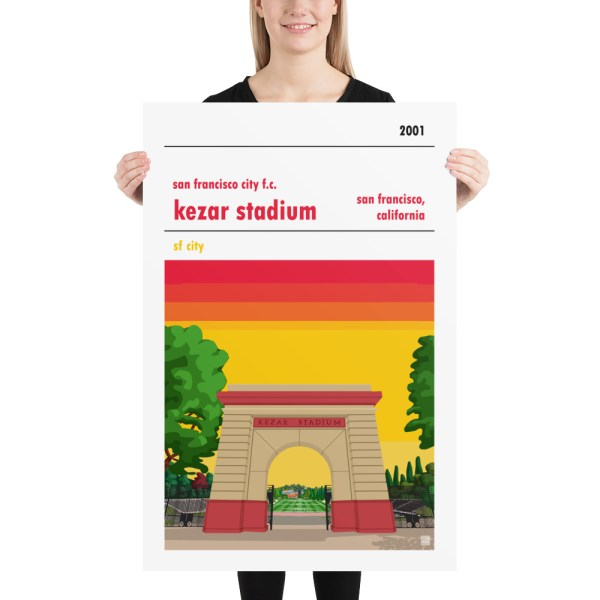 Huge San Francisco City and Kezar Stadium soccer Poster