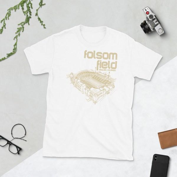 White Folsom Field and Colorado Buffaloes T-Shirt