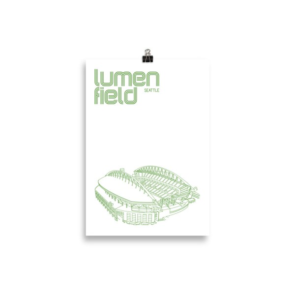 Small Lumen Field and Seattle Sounders Soccer Print