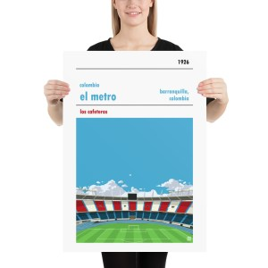 Large Colombia and El Metro Football Print