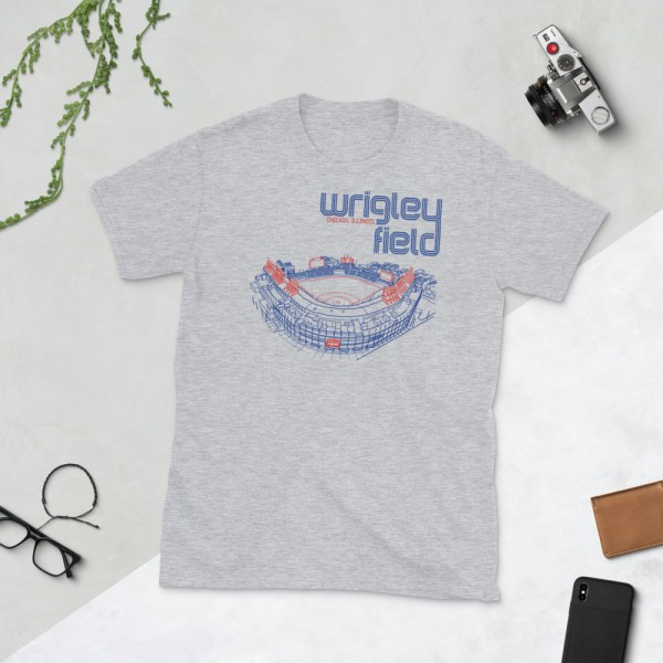 Gray Wrigley Field and Chicago Cubs T-Shirt