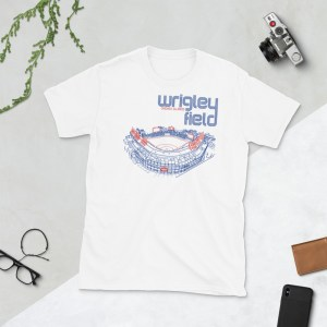 White Wrigley Field and Chicago Cubs T-Shirt