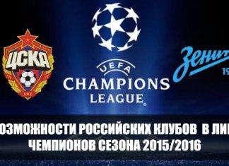 Русские клубы в лиге чемпионов